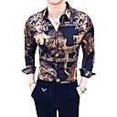 baratos Camisas Masculinas-Homens Camisa Social Luxo / Vintage Animal / Tribal Colarinho Clássico Delgado Marron XL / Manga Longa / Verão