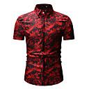 baratos Camisas Masculinas-Homens Camisa Social - Bandagem Básico / Moda de Rua Estampado, Floral Colarinho Clássico Azul US36 / Manga Curta