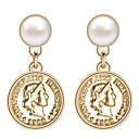ieftine Machiaj & Îngrijire Unghii-Pentru femei Cercei Picătură Monedă Stilat La modă Englezesc Imitație de Perle Placat Auriu cercei Bijuterii Auriu Pentru Nuntă Logodnă 1 Pair