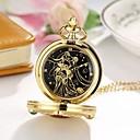 رخيصةأون ساعات الرجال-نسائي ساعة جيب كوارتز ذهبي ساعة كاجوال كوول مماثل كاجوال موضة - ذهبي أحمر