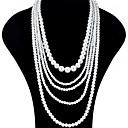 olcso Divat nyaklánc-Női Rakott nyakláncok Pearl Pászmák hosszú nyaklánc Hosszú hölgyek Ázsiai Menyasszonyi Többrétegű Gyöngy Fehér Nyakláncok Ékszerek 1db Kompatibilitás Esküvő Parti Különleges alkalom Születésnap