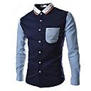 رخيصةأون ساعات الرجال-رجالي عمل أساسي بقع مقاس أوروبي / أمريكي - قطن قميص, ألوان متناوبة ياقة كلاسيكية / كم طويل / الصيف
