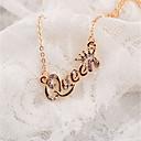رخيصةأون قلادات-نسائي قلائد الحلي Alphabet Shape بسيط كروم ذهبي فضي 42+5 cm قلادة مجوهرات 1PC من أجل مناسب للبس اليومي