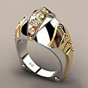 رخيصةأون خواتم-نسائي عصابة الفرقة الماس الاصطناعي 1PC أصفر مطلية بالذهب طلاء الفضة سبيكة Geometric Shape شائع مناسب للحفلات هدية مجوهرات هندسي سمك كوول