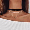 저렴한 패션 목걸이-여성용 계층화 된 목걸이 가죽 모조 다이아몬드 유행의 골드 30 cm 목걸이 보석류 2pcs 제품 약혼 거리 데이트 클럽 바