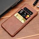 abordables Coques d'iPhone-Coque Pour Samsung Galaxy Galaxy S10 / Galaxy S10 Plus Porte Carte Coque Couleur Pleine Dur faux cuir pour S9 / S9 Plus / S8 Plus