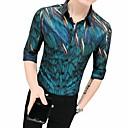 baratos Camisas Masculinas-Homens Camisa Social Geométrica Colarinho Clássico Delgado Verde XL