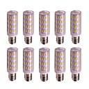 זול נורות תירס לד-10pcs 3 W נורות תירס לד 300 lm E12 / E14 T 63 LED חרוזים SMD 4014 עיצוב חדש לבן חם לבן 12-24 V
