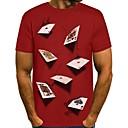 baratos Camisetas & Regatas Masculinas-Homens Camiseta 3D Decote Redondo Preto M