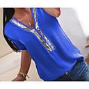 billiga Modehalsband-Paljetter / Chiffong / Glitter, Färgblock Plusstorlekar T-shirt Dam V-hals Fuchsia XXXL / Vår / Sommar / Höst