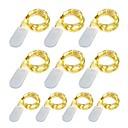 ieftine Benzi De Lumini LED-10 pacote 1 m led luzes da corda 10 led micro luzes em fio de cobre de prata para diy peça central da festa de casamento decoração de mesa