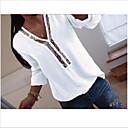 baratos Blusas Femininas-Mulheres Camisa Social Paetês, Sólido Decote V Fúcsia XXXL