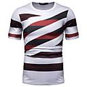 cheap Men's Tees & Tank Tops-Men's EU / US Size Cotton T-shirt - Striped / Color Block / Graphic Patchwork / Print Round Neck Red L