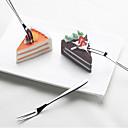 رخيصةأون أطباق-الفاكهة شوكة الفولاذ المقاوم للصدأ كعكة القمر كعكة الحلوى شوكة المنزل اليومية علامة الفاكهة 2PCS