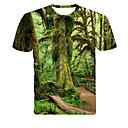 ieftine Copii Acasă-Bărbați Rotund - Mărime Plus Size Tricou Copaci / Frunze / #D Imprimeu Trifoi
