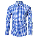 رخيصةأون قمصان رجالي-رجالي قميص منقوش أزرق L / كم طويل
