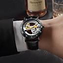 ieftine Ceasuri Bărbați-Bărbați ceas mecanic Mecanism automat Piele Autentică Negru / Maro 30 m Gravură scobită Iluminat Analog Modă Schelet - Auriu Negru