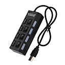 cheap USB Hubs & Switches-Cooho 4 Port Micro USB Hub 2.0 USB Splitter High Speed 480Mbps USB 2.0 Hub LED With ON/OFF Switch For Tablet Laptop Computer Notebook
