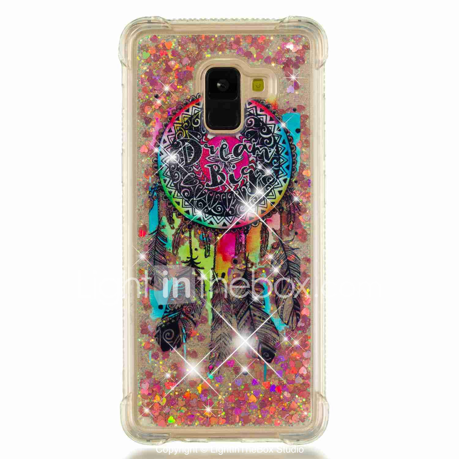 5f826669efeed3 Case For Samsung Galaxy A8 Plus 2018 / A7(2018) Shockproof / Flowing Liquid  / Transparent Back Cover Dream Catcher / Glitter Shine Soft TPU for A6 (2018)  ...