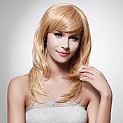 sin tapa larga sintético de alta calidad rubia peluca de pelo staight