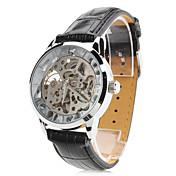 Hombre Reloj de Pulsera El reloj mecánico Cuerda Automática Huecograbado PU Banda Negro Dorado Plata