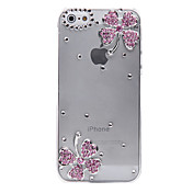 Para Funda iPhone 5 Transparente / En Relieve Funda Cubierta Trasera Funda Flor Dura Policarbonato iPhone SE/5s/5