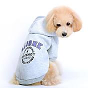 Gato Perro Saco y Capucha Ropa para Perro Letra y Número Gris Rojo Algodón Disfraz Para mascotas Hombre Mujer Bonito Deportes