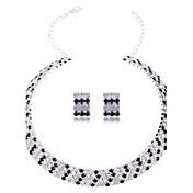 Mujer Cristal Brillante Conjunto de joyas Pendientes Collare - Nupcial Elegant Joyas Plata Juego de Joyas Pendientes cortos Collar Para