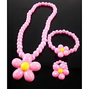 Chica Juego de Joyas Fiesta Perla Resina Flor Foco Multicolor 1 Collar 1 Brazalete 1 Anillo