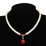 Mujer Rojo Rubí Collar / Collar Y / Collar con perlas - Perla Gota, Flor Blanco Gargantillas Joyas Para Fiesta, Ocasión especial, Aniversario / Regalo