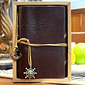 patrón diario de cuero 18x14cm vendimia cuaderno creativo memo espiral (color al azar)