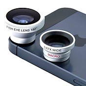 Magnetic tre i en vidvinkellinse / Macro lens/180 Fish Eye Lens / Kit Set for iPhone 5/4 / iPad / Fax