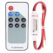 r107 mini enkeltfargede LED-dimmer strip-kontroller med rf fjernkontroll, rød og svart kabellinje (dc5-24v 60-288w 12a)