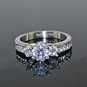 Mujer Diamante sintético Acero inoxidable Zirconio Zirconia Cúbica Forma de Corona - Redondo Forma de Corona Lujo Amor Nupcial Plata