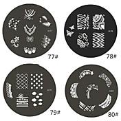 1 Pieza de la Serie M redondeado Resumen de diseño de uñas de arte sello estampado de la placa de la plantilla de imagen No.77-80 (Assorted Pattern)