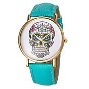Mujer Reloj de Moda Cuarzo PU Banda Calavera Negro Blanco Azul Rojo Marrón Verde Amarillo Rose