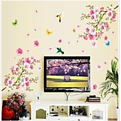 Doudouwo ® Florals The Beautiful Peach Blossom Og Butterflies Wall Sticker