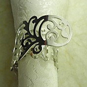 Plating Metall Blomst Serviett Ring, Metall, 3,5 cm, sett av 12