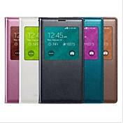 Etui Til Samsung Galaxy Samsung Galaxy Etui med vindu Autodvale / aktivasjon Flipp Heldekkende etui Helfarge PU Leather til S5