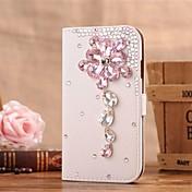 Para Funda Samsung Galaxy Soporte de Coche / Diamantes Sintéticos / con Soporte / Flip Funda Cuerpo Entero Funda Flor Cuero Sintético