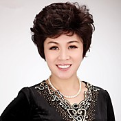 Mujer Pelo humano pelucas sin tapa Densidad Corte Pixie Con flequillo Ondulado Peluca Negro natural Castaño Corto Entradas Naturales Para