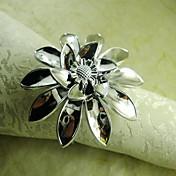 hånd blomst serviett ring i sølv, akryl beades, 4,5 cm, sett med 12