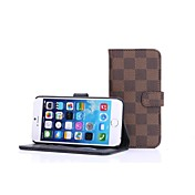 HHMM Grid Pattern Can Insert Card PU Leather Cases with Stand  for iPhone 6 plus Case 5.5 inch(Assorted Colors)