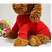 Perro Camiseta Sudadera Ropa para Perro Un Color Negro Rojo Azul Rosa Algodón Disfraz Para mascotas Hombre Mujer Bonito