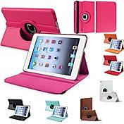 DF® cuero de la PU caso completo flip-abierto duradera cuerpo con rotación de 360 grados de pie para el mini iPad (colores surtidos)
