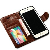 Til Etui iPhone 6 Etui iPhone 6 Plus Lommebok Kortholder med stativ Flipp Etui Heldekkende Etui Ensfarget Hard PU-lær tiliPhone 6s Plus/6