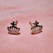 plata clásica pendientes pendientes de la corona de la moda de las mujeres