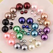 Mujer Pendientes cortos Perla Perla Artificial Resina Perla gris Perla rosa Perla de oro Black Pearl Joyas Para Boda Fiesta Diario Casual
