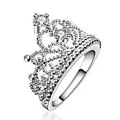 Ring Dobbelt lag Europeisk Zirkonium Kubisk Zirkonium Sølvplett Krone Formet Kostyme smykker Fest Daglig