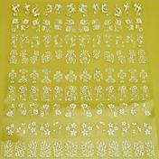 1 배 108 개 3D 흰 꽃 네일 아트 스티커